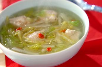 鶏団子と白菜の中華スープ