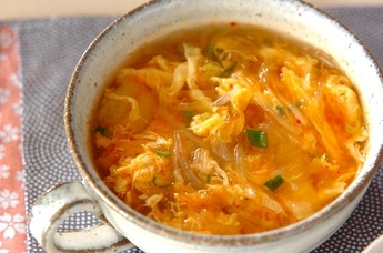 春雨キムチスープ