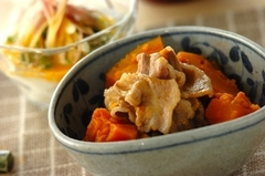 カボチャと豚肉の煮物