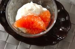 グレープフルーツのメープルマリネと水切りヨーグルト