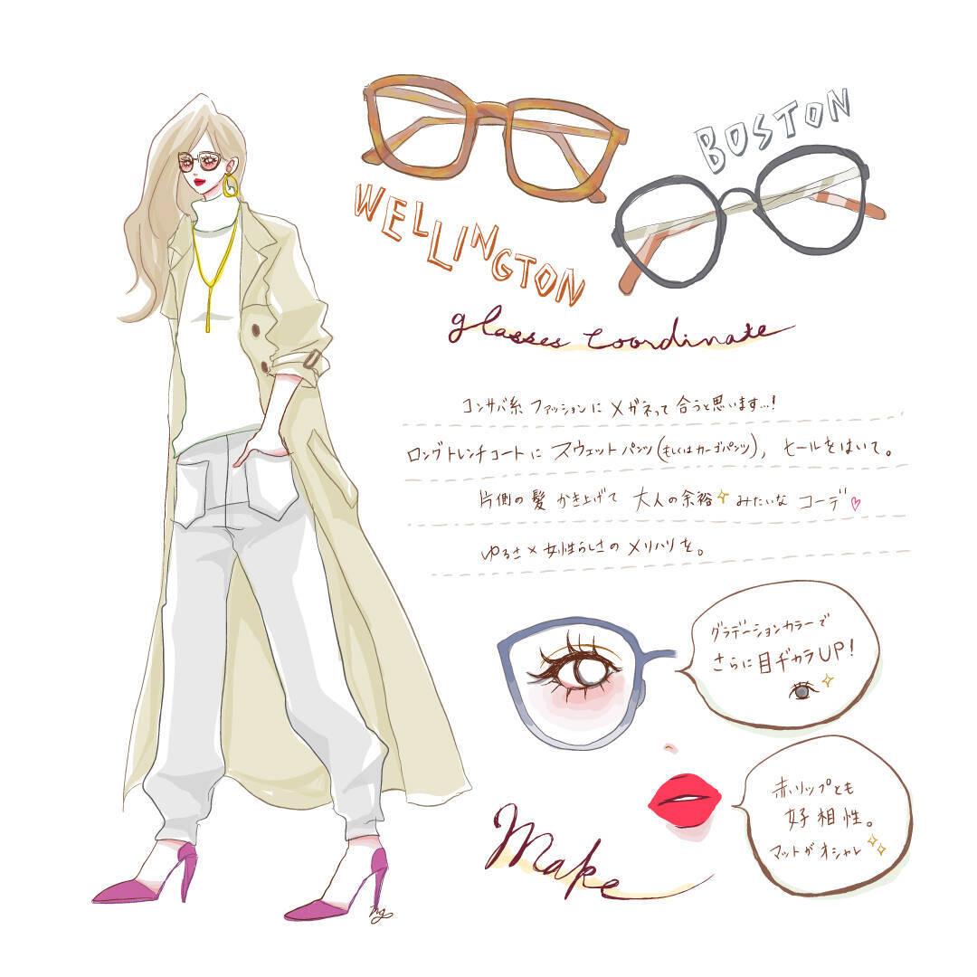 ウェリントン・ボストンメガネに似合うファッション