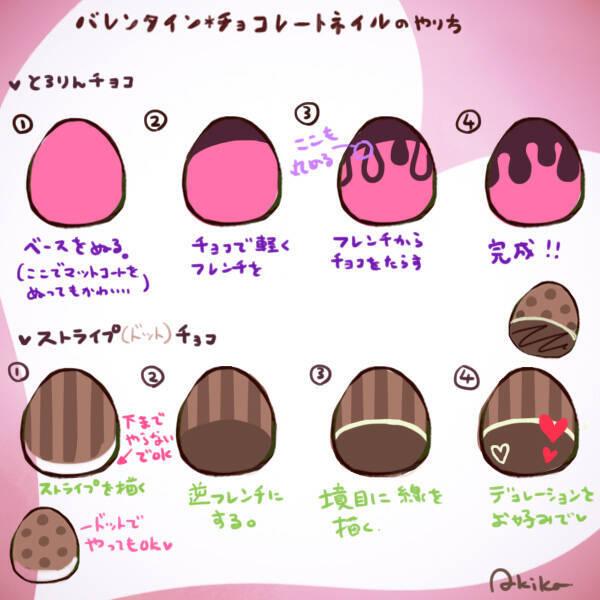 とろっと溶けたチョコレート柄の書き方はこんな感じ