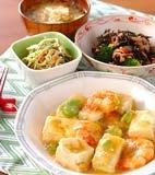 豆腐とエビの塩炒めの献立