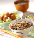 キノコの炊き込みご飯の献立