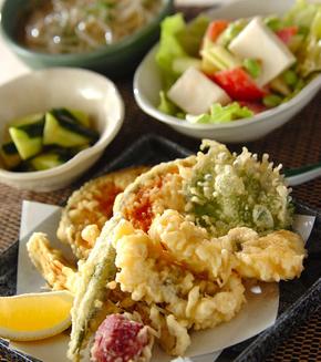 夏野菜の天ぷら盛り合わせの献立