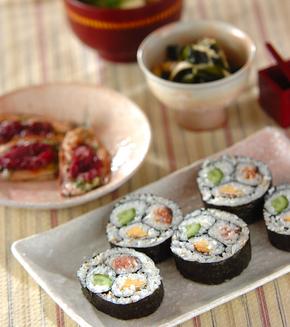 三色巻き寿司(恵方巻き)の献立