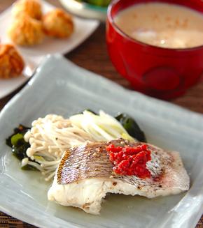 白身魚の梅肉蒸しの献立