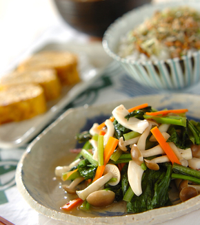 イカと小松菜の炒め物の献立