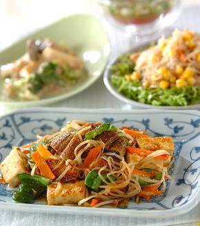 ウナギと豆腐の炒め物の献立