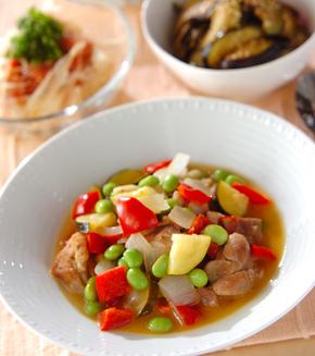 鶏肉と彩り野菜のビネガー煮の献立