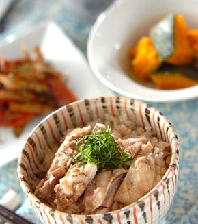 鶏の炊き込みご飯の献立