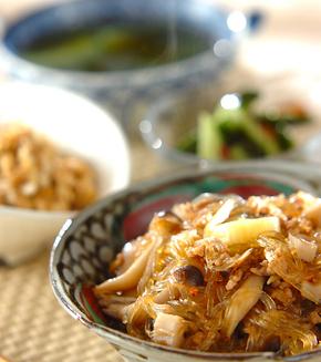 春雨とキノコの中華煮の献立