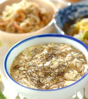 豆腐と長芋のふんわり蒸しご飯の献立