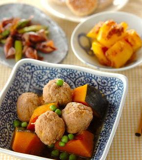 カボチャと肉団子の煮物の献立