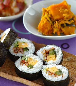 野沢菜の巻き寿司の献立