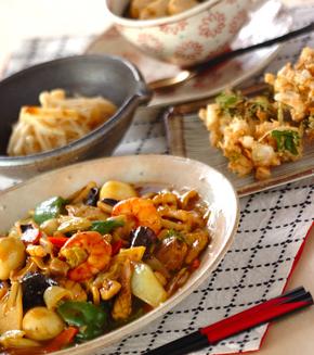 カレー風味の八宝菜の献立
