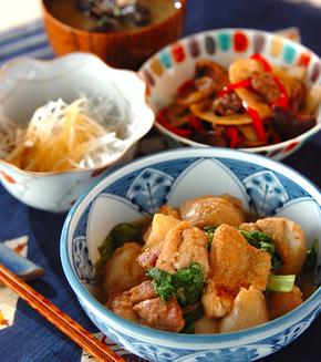 鶏肉と里芋の炒め煮の献立