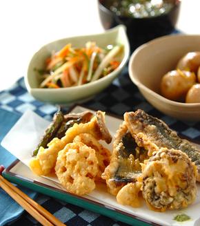 アジと野菜の天ぷらの献立