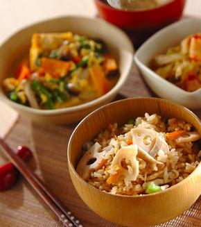 根菜の炊き込みご飯の献立