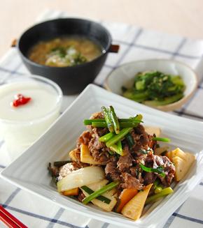 牛肉の中華炒めの献立