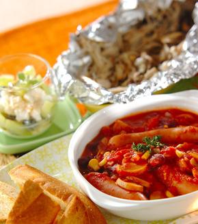 ソーセージと豆のトマト煮の献立
