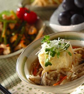 キノコあんかけ揚げ出し豆腐の献立