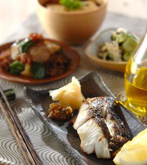 白身魚の塩焼きの献立