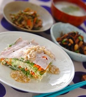 豚肉と野菜のレンジ蒸しの献立