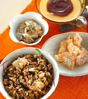 里芋の玄米炊き込みご飯の献立