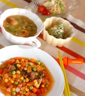 焼き塩サバの野菜ダレの献立