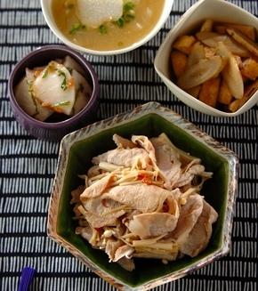 豚肉とエノキのピリ辛炒めの献立