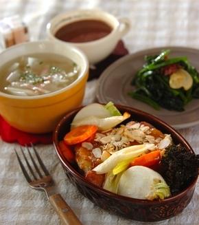 鶏と野菜のオーブン焼きの献立