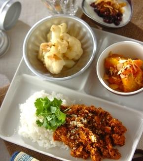豆とひき肉のカレーの献立