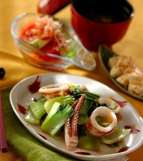 イカとチンゲン菜の塩麹炒めの献立