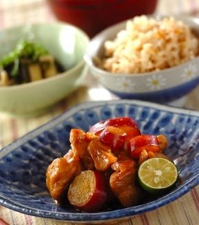 鶏とサツマイモの煮物の献立