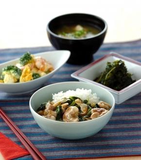 小松菜とホタテのあんかけご飯の献立