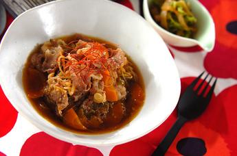牛肉とモヤシのスープ煮
