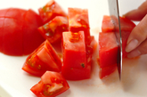 トマトの冷製スープの下準備1
