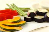 焼き野菜のたっぷりミートソース添えの下準備1