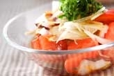 タコとトマトと大葉のサラダ
