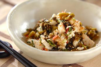 高菜漬けの豆腐和え