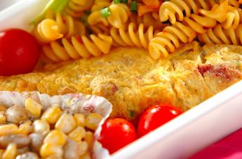 コンビーフと野菜のオムレツ
