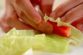 キャベツのカニカマ巻きの作り方1
