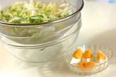 白菜のカリカリジャコサラダの下準備1
