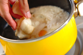 落とし卵とジュンサイのお吸い物の作り方2