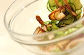 キュウリとシイタケのゴマ酢和えの作り方1