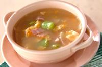 ソラ豆と卵のスープ