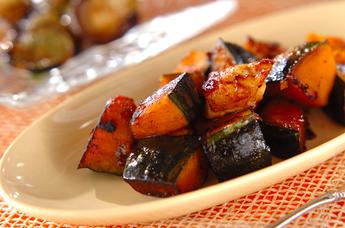 カボチャと鶏肉のピリ辛炒め