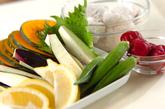 夏野菜の天ぷら盛り合わせの下準備1