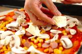 コーンとソーセージのピザの作り方4